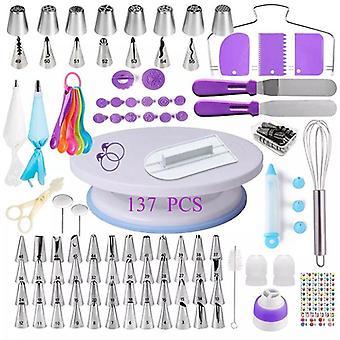 Kakedekorasjonsverktøysett, roterende bord, bakeverktøy, rørdyse, posesett, bakeutstyr