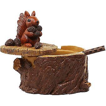 Outdoor Aschenbecher für Zigaretten Niedliches Harz Eichhörnchen Aschenbecher mit Deckel für Haus und Garten