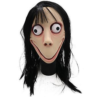 Momo Ghost Mask med langt hår Cosplay Costume Party Prop