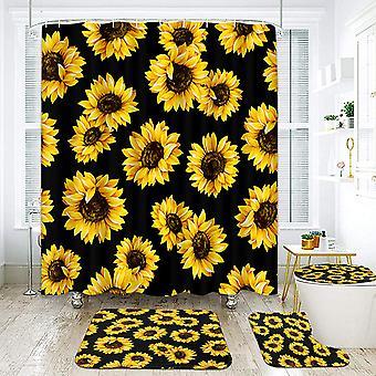4pcs/set Butterfly Shower Curtain Sunflower Pattern