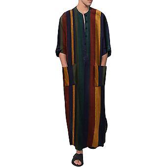 Yunyun Men's Striped Color Block Robe Casual Comfortable Short Sleeves Nightdress