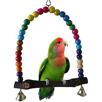 """ציפור סווינג, צבעוני 5.5"""" X 5.6"""" ציפור עץ נדנדות באדג'י סווינג צעצועים ערסל עבור תוכים באדג'י בירד"""