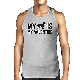 Mi perro mi San Valentín para hombre gris tanque lindo gráfico para dueños de perros