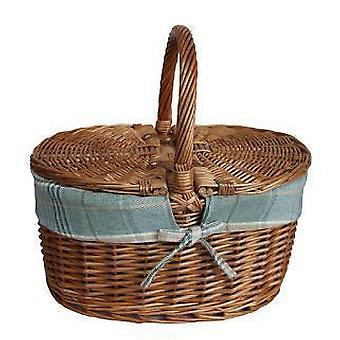 Ljus ångad Oval lockförsedda grädde Tartan foder picknickkorg