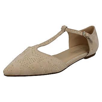 Sabana de las señoras t plana hebilla correa señaló zapatos de F80232