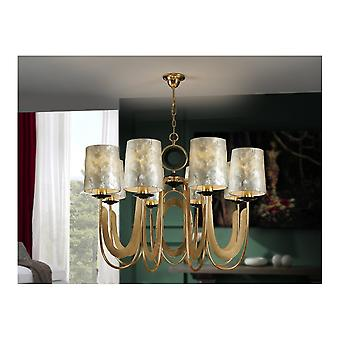 Schuller Traditional Gold Ceiling Chandelier With 8 Shades