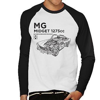 Haynes Workshop Manual MG Midget 1275cc Black Men's Baseball Long Sleeved T-Shirt