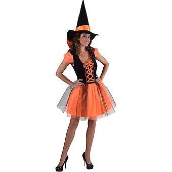 Vrouwen kostuums heks jurk oranje