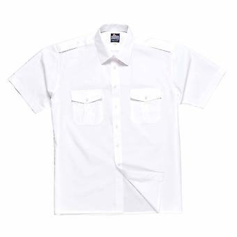 sUw - Pilot Style einheitliche Arbeitskleidung kurze Ärmel Hemd mit Epauletten