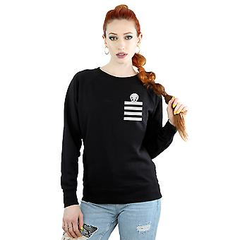 Looney Tunes Women's Tweety Pie Striped Faux Pocket Sweatshirt