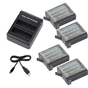 Dot.Foto batteri (4-Pack) og dobbelt oplader til GoPro HERO4 sorte udgave, HERO4 Silver Edition & GoPro AHDBT-401