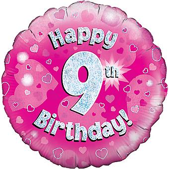 Oaktree 18 Inch Happy 9th Birthday Pink Holographic Balloon