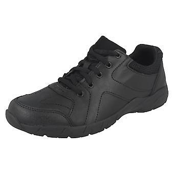 Jongens / Senior jongens Bootleg door Clarks zwart leer Lace Up schoenen Air Norfolk