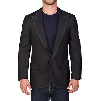 Нажатием одной кнопки Sportscoat шерсти Lanvin мужской пиджак серый зеленый