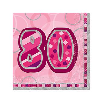 Födelsedag Glitz rosa - 80th födelsedag - lunch servetter