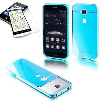 Pieza 2 parachoques de aluminio azul + 0,3 mm H9 vidrio templado para Huawei G8 5.5 pulgadas