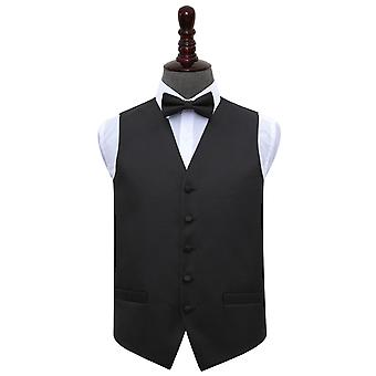 Black Greek Key Wedding Waistcoat & Bow Tie Set