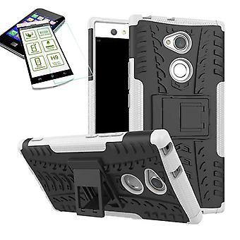 Hybride cas 2 morceau blanc pour Sony Xperia XA2 ultra bag Etui + verre trempé nouveau