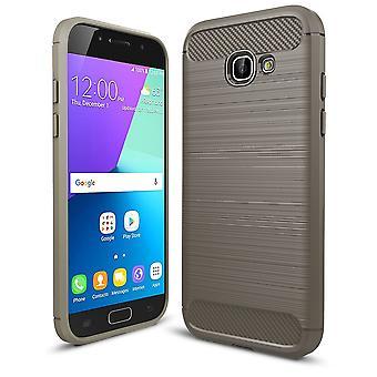 Samsung Galaxy A5 2017 TPU case kolfiber optik borstad skydd täcka grå
