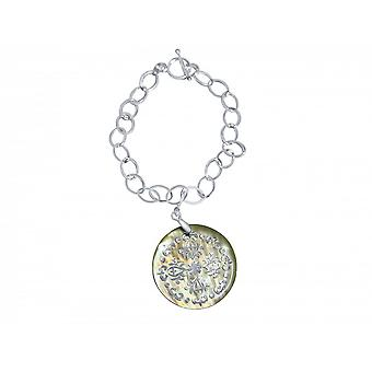 Pulseira bracelete - pingente - medalhão - madrepérola - prata 925 - creme - 3cm