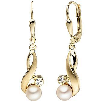 333 boucles d'oreilles or jaune or mat 2 perles d'eau douce 2 zircon boucles d'oreilles
