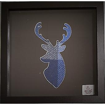 Single Stag Box Frame Blue Harris Tweed by Laura Ann Cards