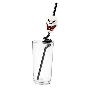 TRIXES Black Skull Spiral Drinking Straw - Flashing and Screaming - for Halloween Parties and Themed Events