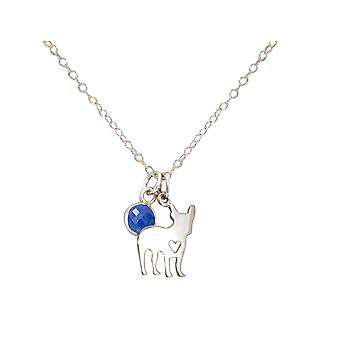 GEMSHINE necklace pug dog, sapphire blue 925 silver, gold plated, rose pet