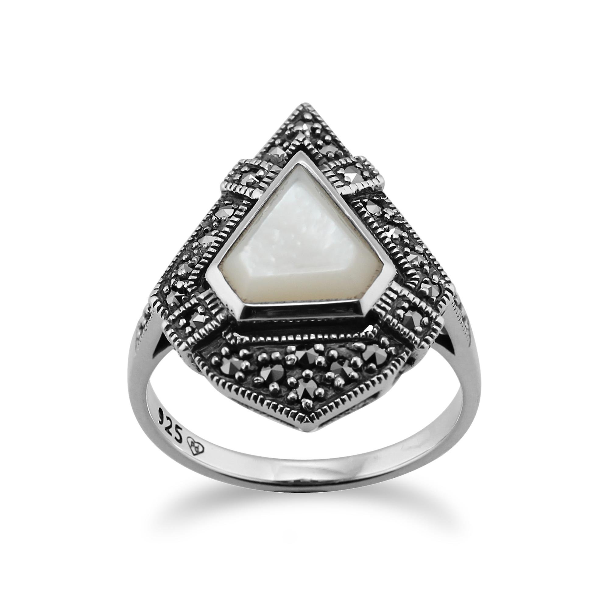 Gemondo Art Deco Style Ring, 925 Sterling Silver 1.50ct Mother of Pearl & 0.28ct Marcasite Ring