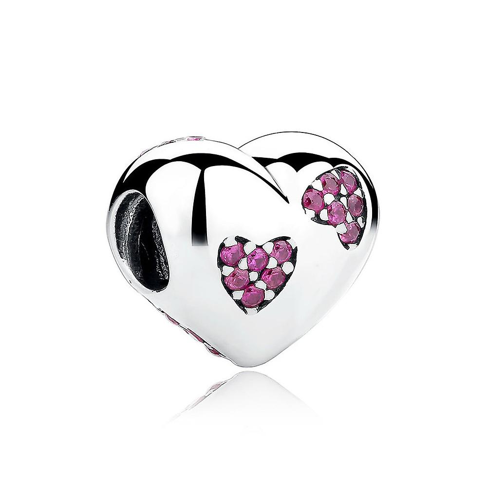 Sterling silver charm heart with pink crystals
