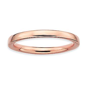 925 Sterling Silver Stackable Expressions Pink plaqué Polished Ring Jewelry Gifts for Women - Ring Size: 5 to 10