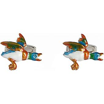 Simon Carter Flying Duck Cufflinks - White/Gold/Teal