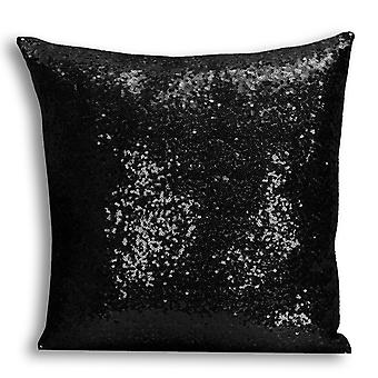 i-Tronixs - Unicorn Printed Design Black Sequin Cushion / Pillow Cover with Inserted Pillow for Home Decor - 4