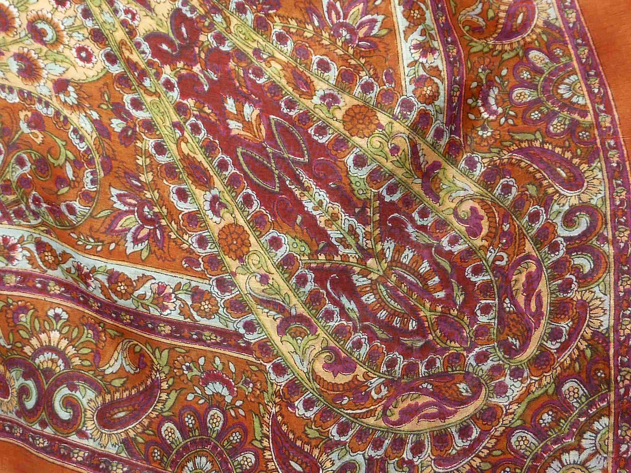 Mulberry Silk Traditional Square Scarf Rashia Caramel by Pashmina & Silk
