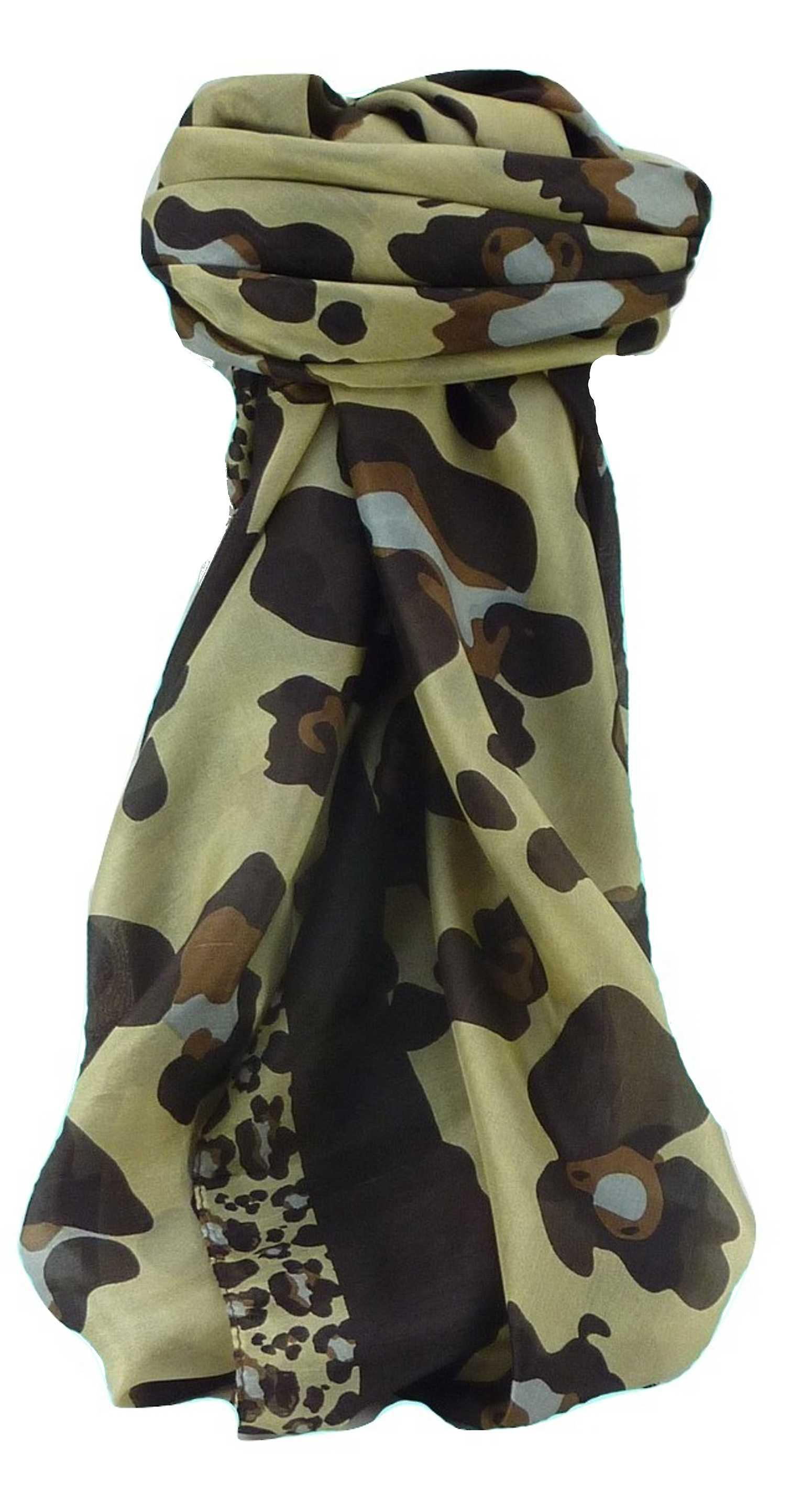 Mulberry Silk Contemporary Square Scarf Penyar Chestnut by Pashmina & Silk