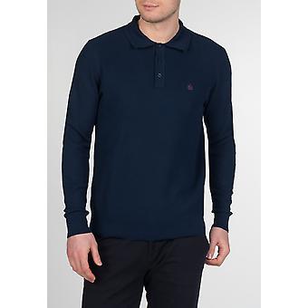 COLLIER de Merc, tricot de coton pour hommes polo à manches longues et patte de boutonnage trimestre
