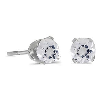 LXR 4mm Round White Topaz Screw Cap Plug Earrings