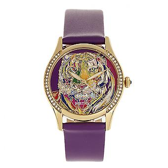Bertha Annabelle Leather-Band Watch - Purple