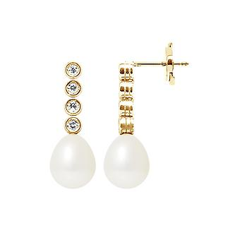 Earrings of Hanging Pearls of Culture White, Diamonds and Yellow Gold 750/1000 5942