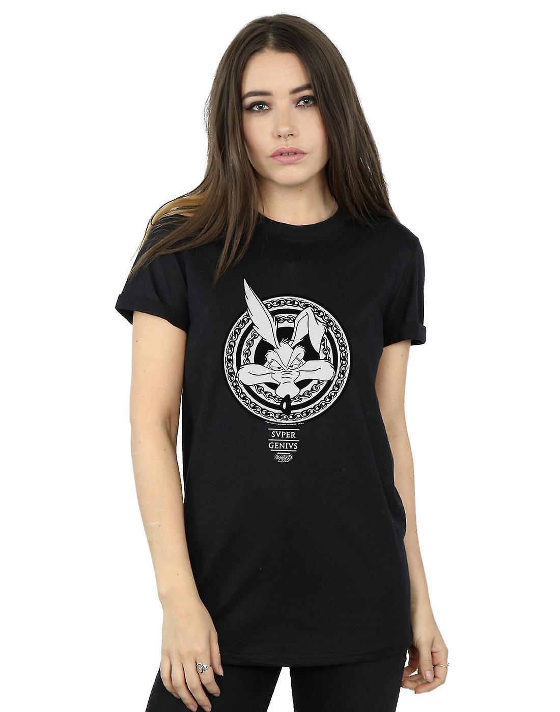 Looney Tunes Women's Wile E Coyote Super Genius Boyfriend Fit T-Shirt