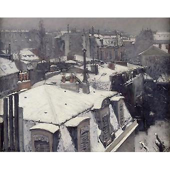 Snow-S Housetop, Gustave Caillebotte, 50x40cm