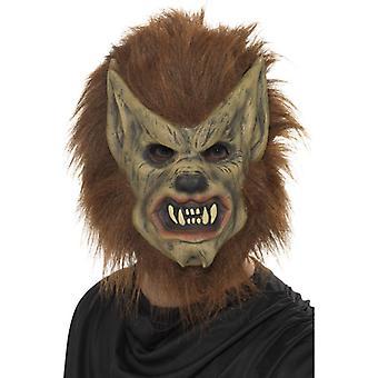 Μάσκα λυκάνθρωπος καφέ πάνω από το κεφάλι λατέξ αφρός