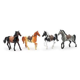 Land livet gård djur Set, fyra hästar med sadlar (05593E)