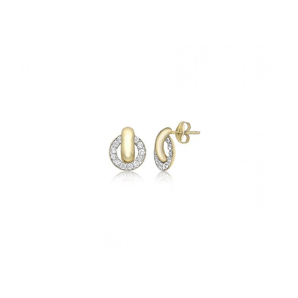 Eternity 9ct Gold Crystal Circle Stud Earrings