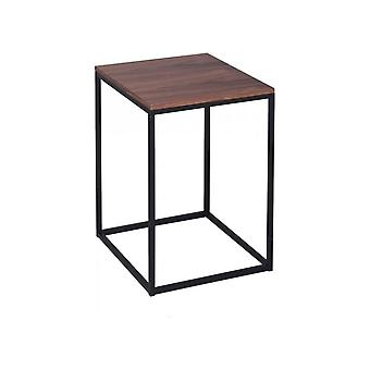 Gillmore Walnut And Black Metal Contemporary Square Side Table