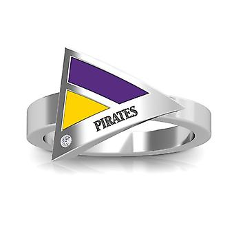 East Carolina University Engraved Sterling Silver Diamond Geometric Ring In Purple and Yellow