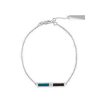 San Jose Sharks Sterling Silver Diamond Bar Chain Bracelet In Blue Green and Black