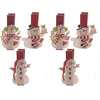 Puckator nyhet snögubbe mini dekorativa pinnar, pack av 6