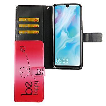 Huawei P30 Lite -kotelon puhelimen kotelo suojaava kansi flip-kotelo korttilokerolla ole onnellinen vaaleanpunainen