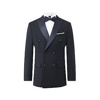Dobell Mens Navy 2 Stück Tuxedo regelmäßige Fit Peak Revers Doppel Brust schwarze Hose